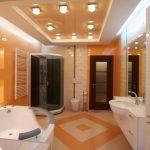 Дизайнерский потолок в ванной