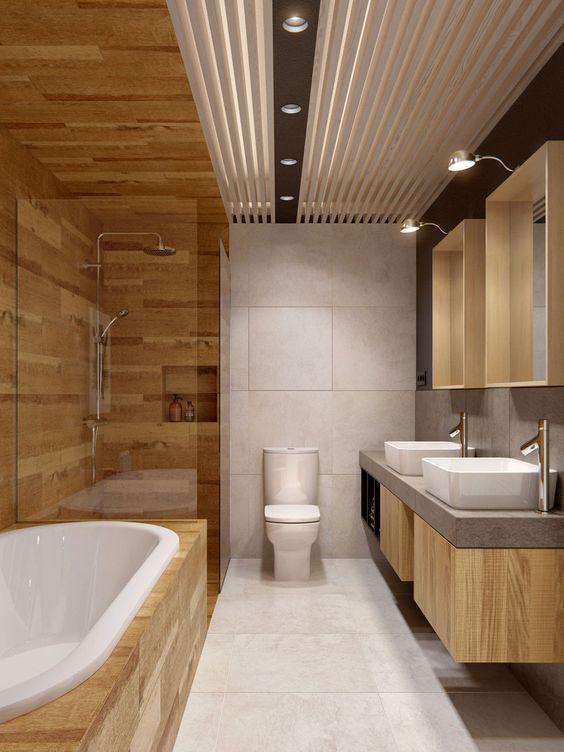 Идеи для отделки деревом ванной комнаты