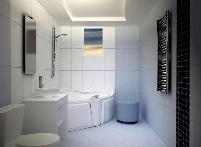 Маленькая ванная с потолком из гипсокартона