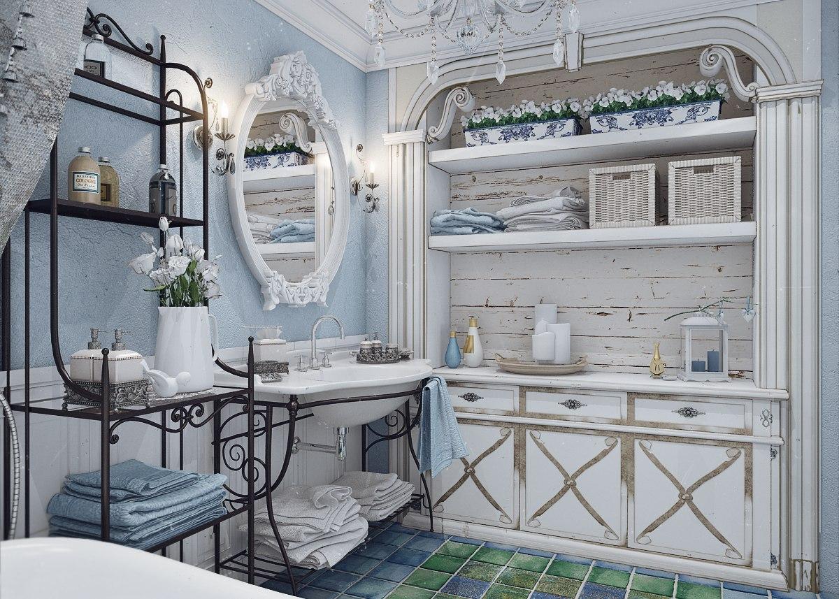 Материалы для воплощения стиля Прованс в ванной комнате