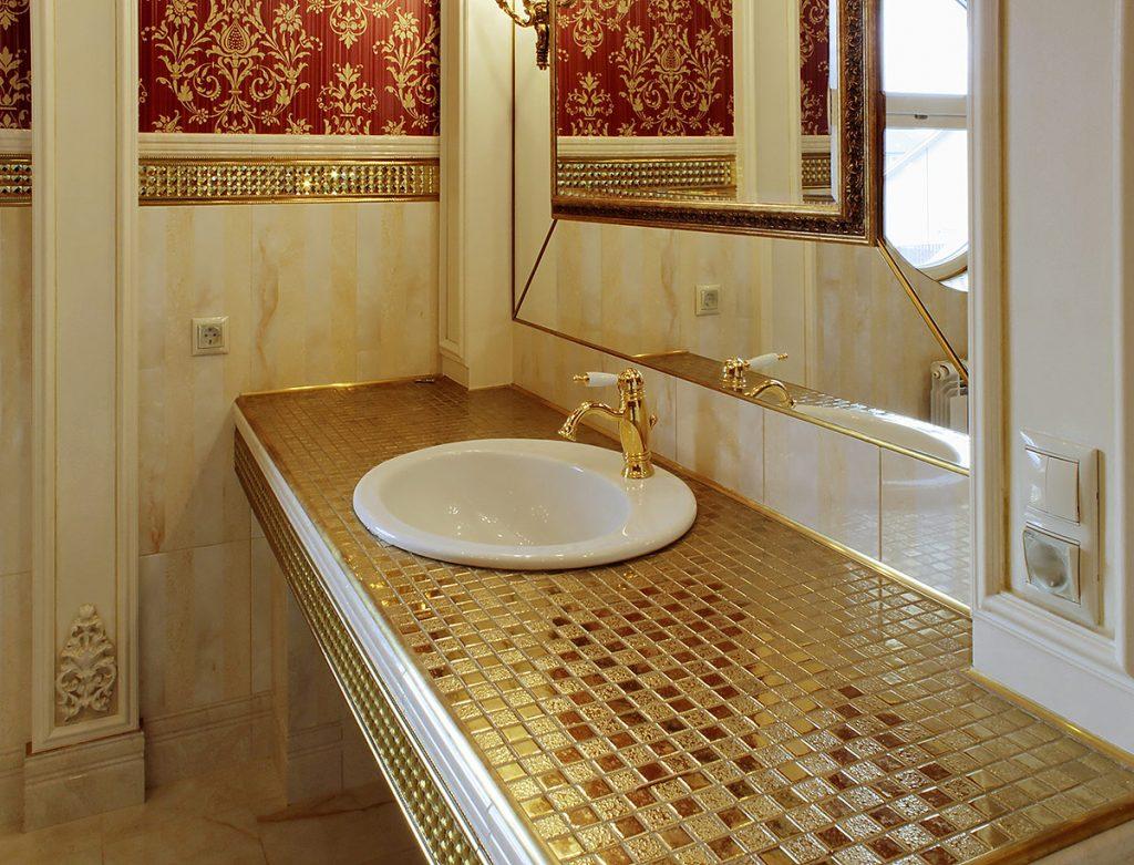Как сделать стол в ванной из мозаики