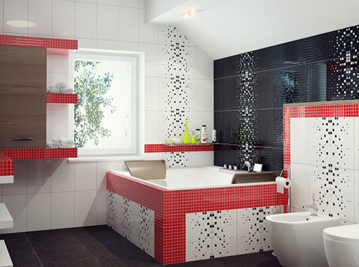 Ванна в черных, белых и красных тонах
