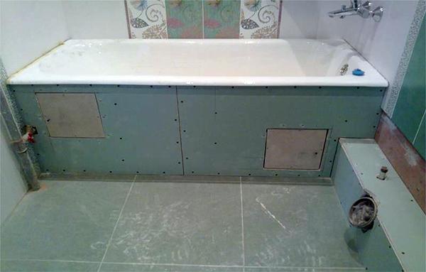 Экран под ванну из гипсокартона под финишную отделку