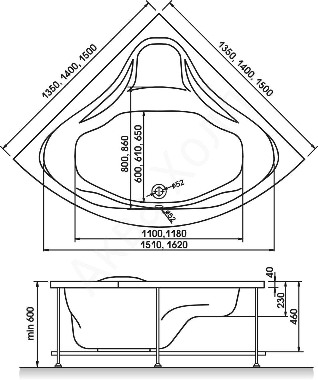 Форма идеальной угловой ванны