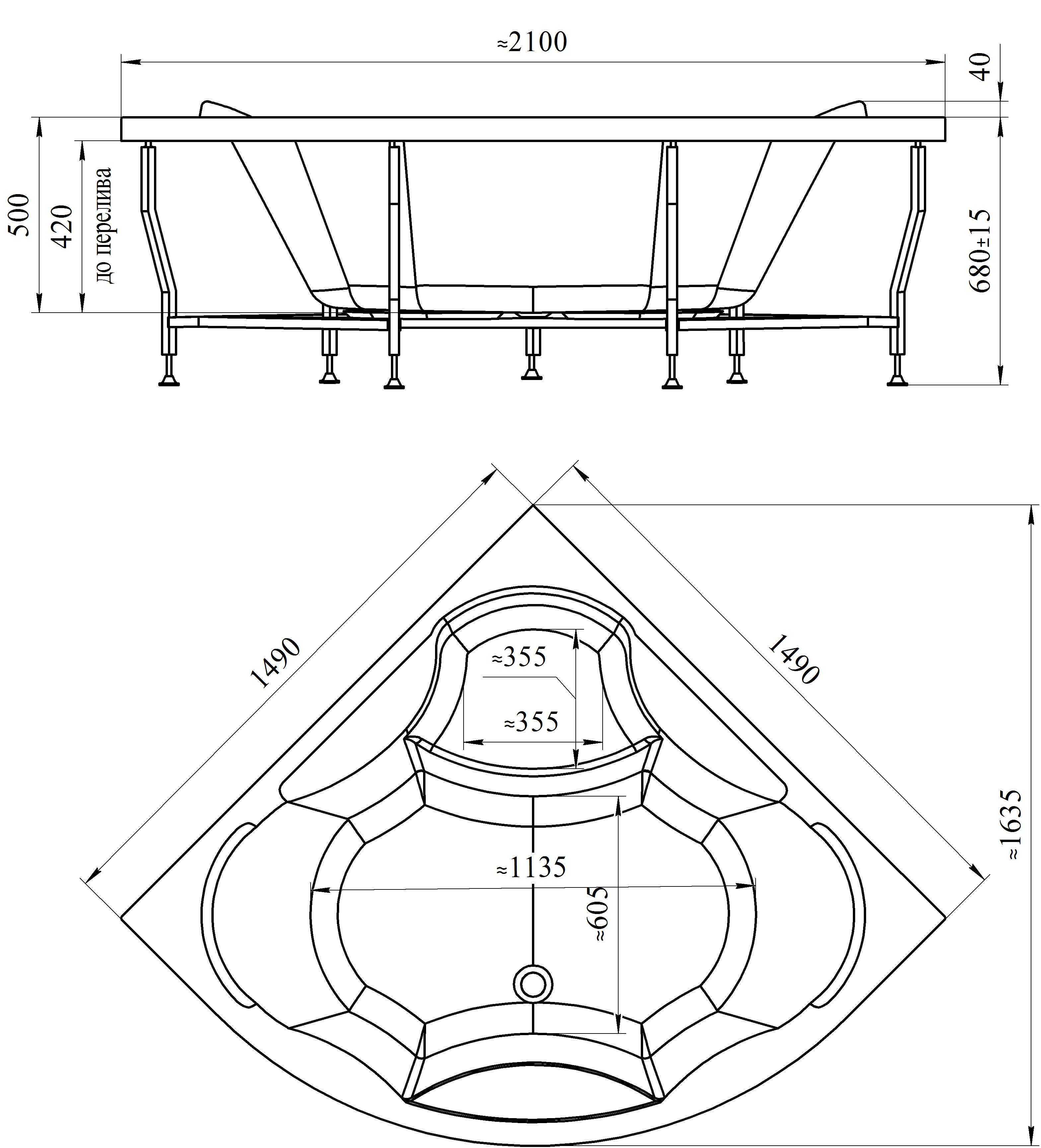 Габариты симметричной ванны