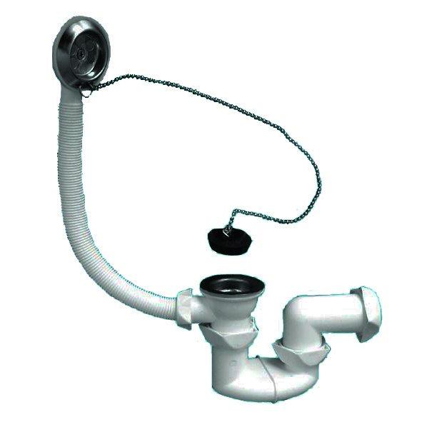 Классический сифон под ванну – с переливом и пробкой на цепочке