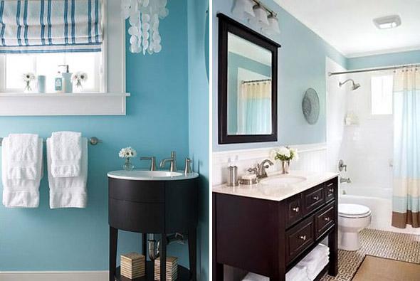Краска может очень интересно смотреться на стенах ванной