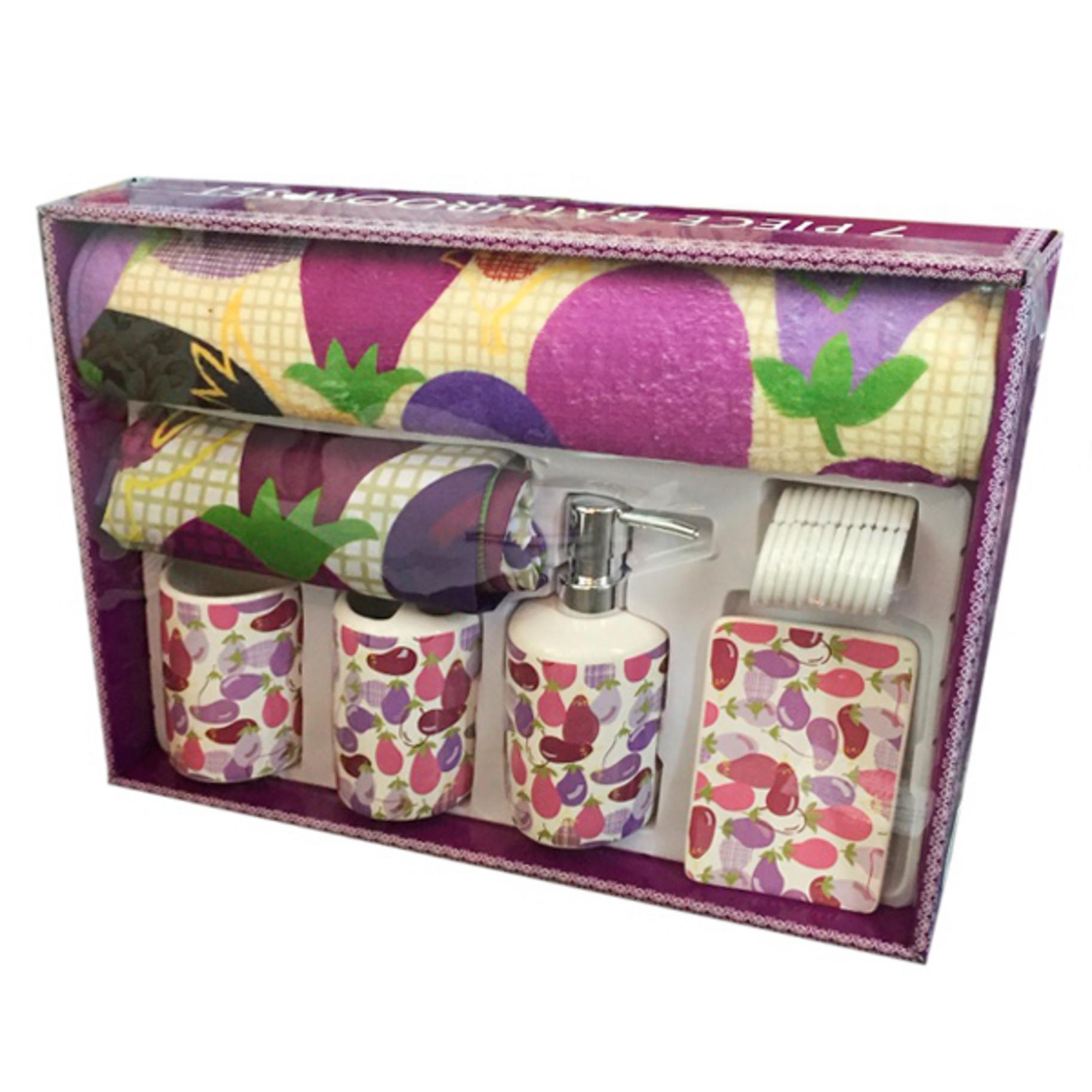 Набор для ванной комнаты - дозатор, мыльница, 2 стакана, штора, коврик