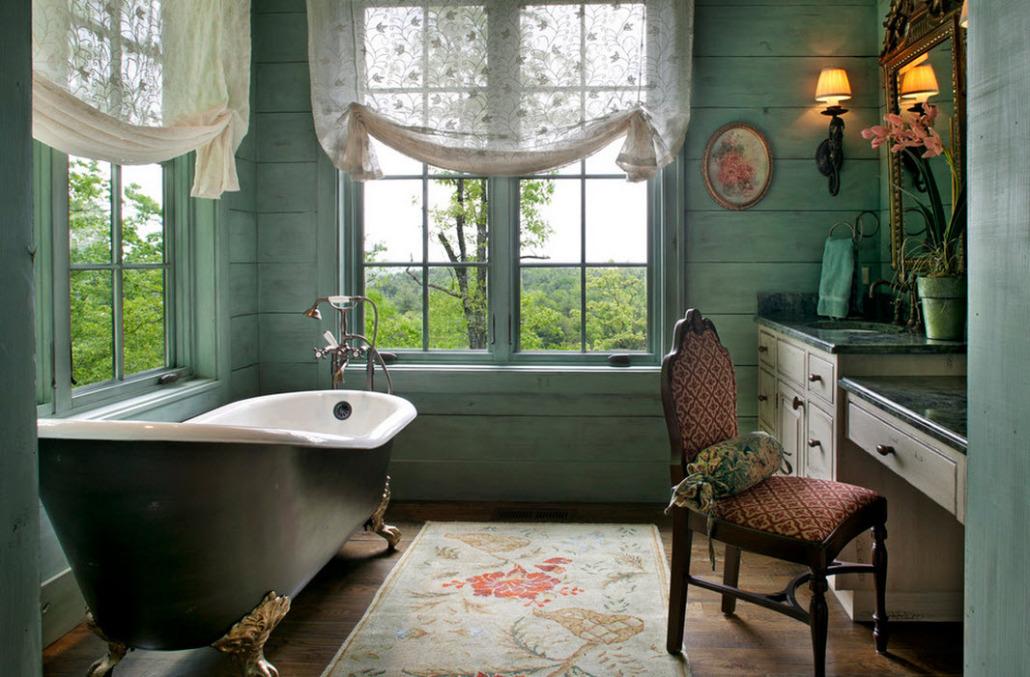 Настоящая ванная в стиле прованс освещена солнцем и небом