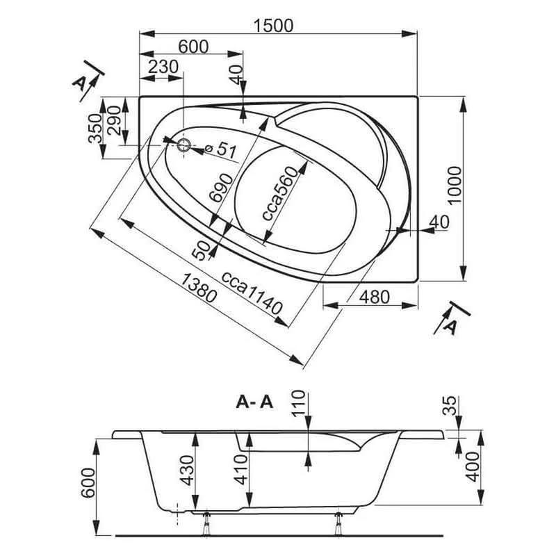 Описание асимметричной ванны