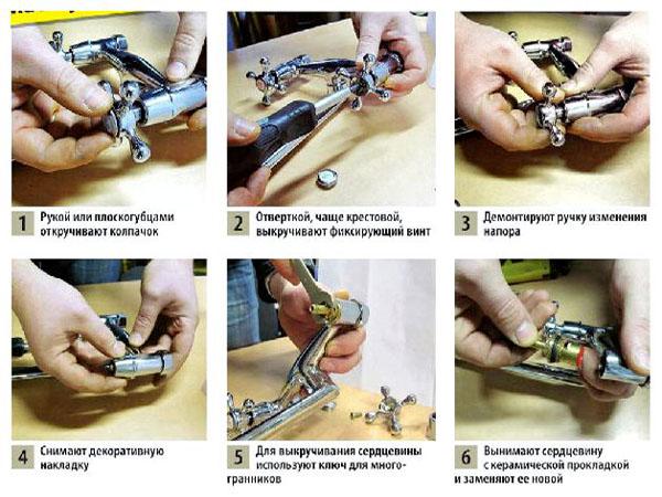 Как разобрать двухвентильный смеситель