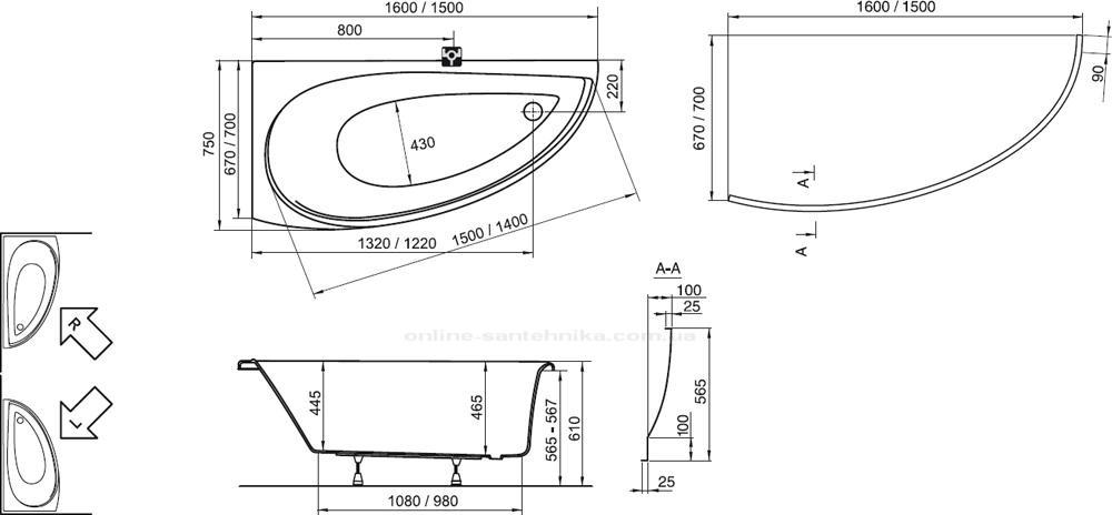 Размеры дизайнерской ванны