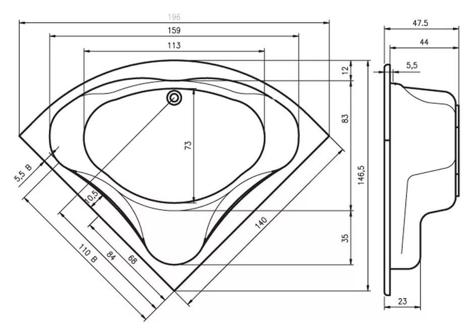 Размеры угловой ванны