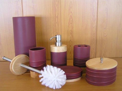 Туалетный набор для ванной комнаты сиреневый со стразами