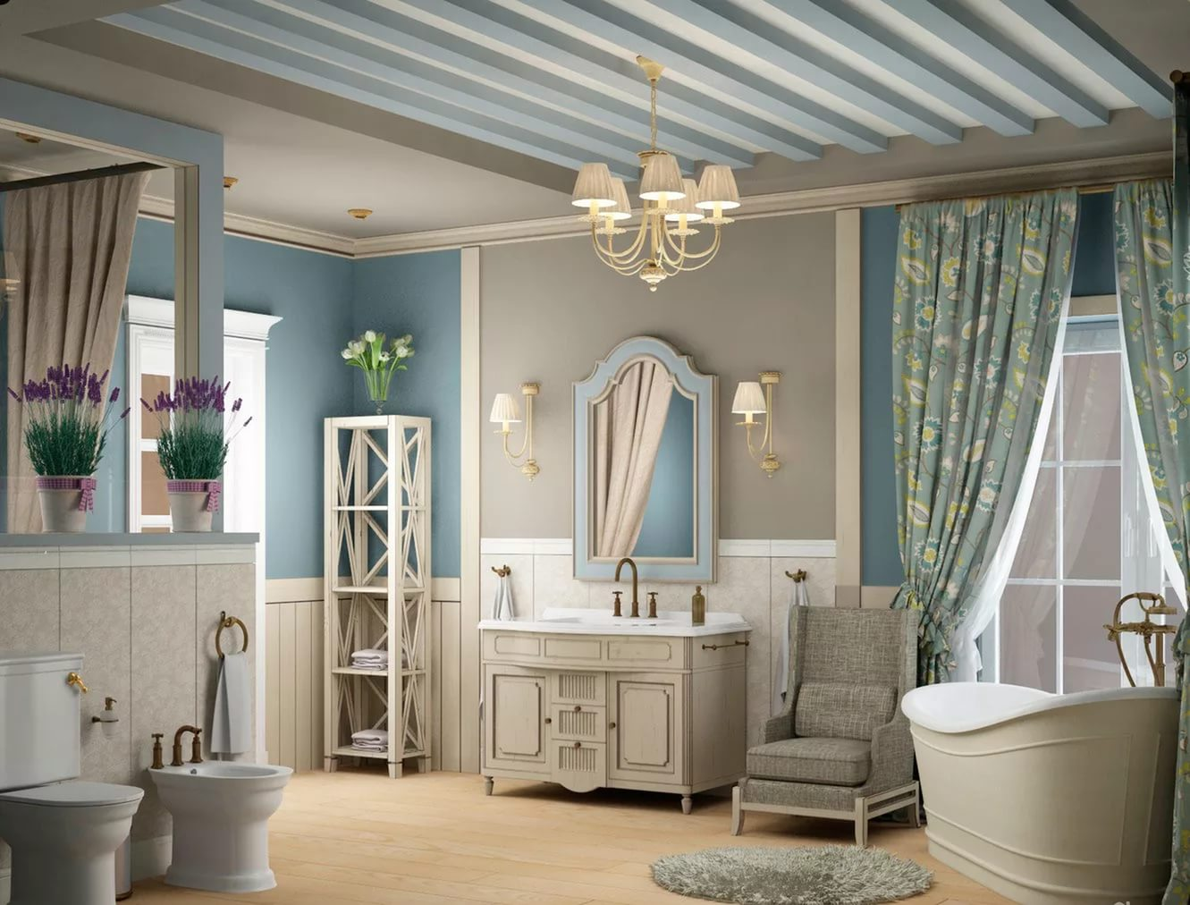 Ванная в стиле прованс - спокойствие и постоянство