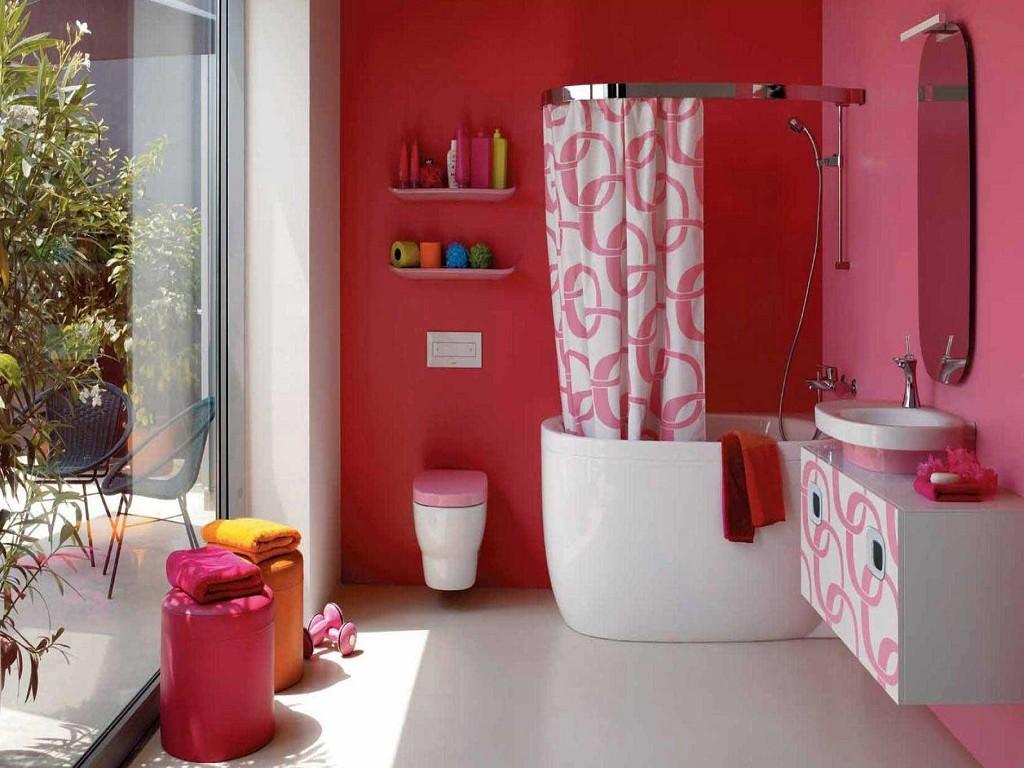 Ванную можно покрасить в красный цвет