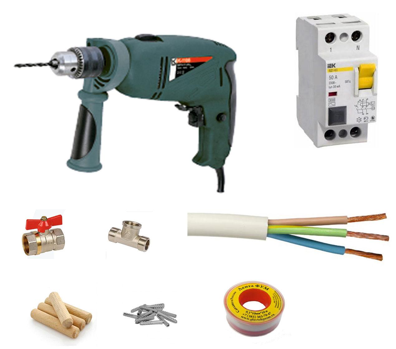 Инструменты и материалы для установки проточного водонагревателя