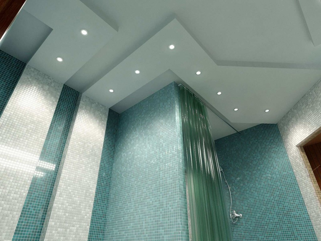 Как оформить дизайн потолка в маленькой ванной