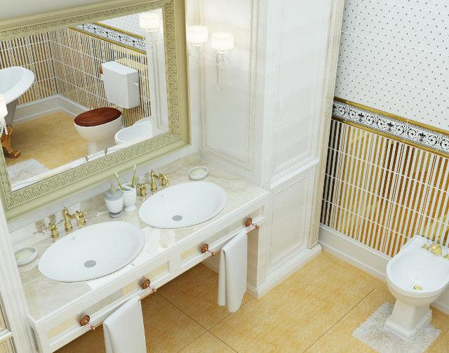 Классический стиль в ванной комнате загородного дома