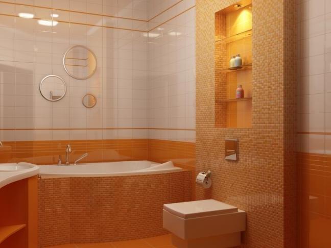 Ниша в бело-оранжевой ванной