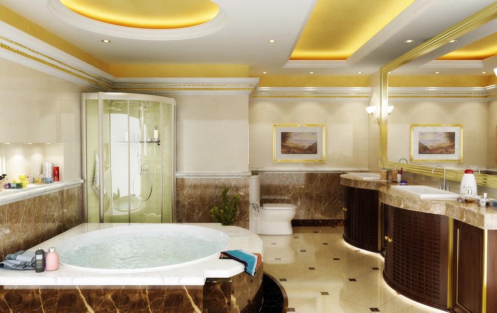 Дизайн натяжных потолков в ванне