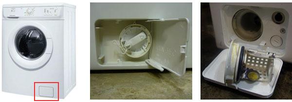 Проверяем нижний отсек стиральной машинки