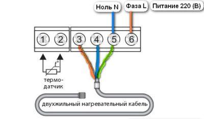 Подключение двужильного кабеля