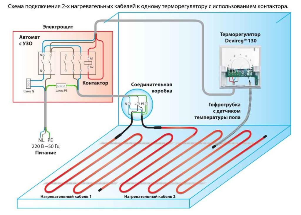 Схема подключения 2-х нагревательных кабелей