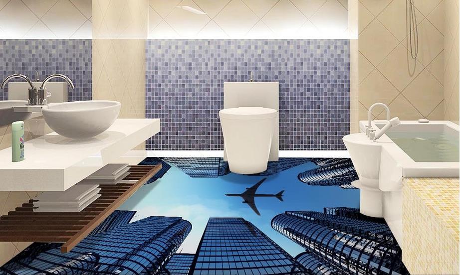 3Д полы в ванной с изображением городского пейзажа