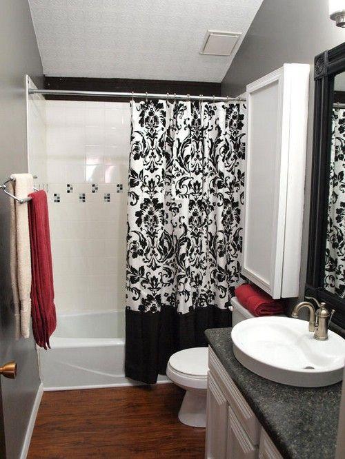 Черно-белая шторка в ванной комнате 2018