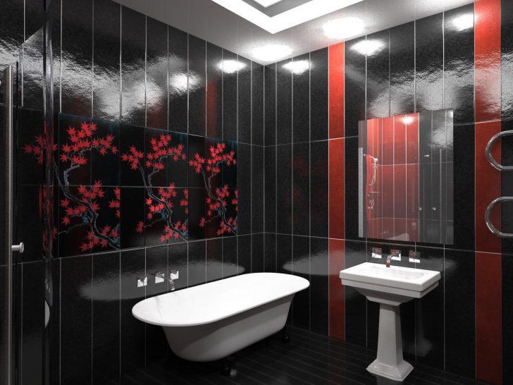Черно-красный вариант оформления ванной 2018