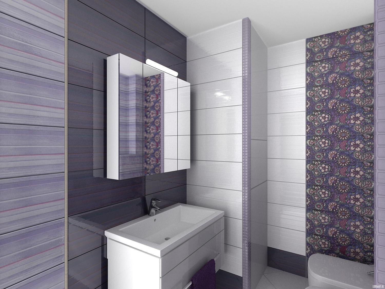 Дизайн отделки ванной комнаты темной плиткой