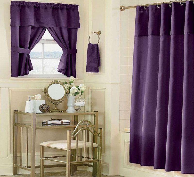 Фиолетовые тона дизайна в ванной комнате 2018