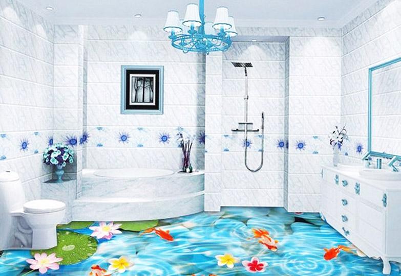 Голубые тона пола для ванной комнаты