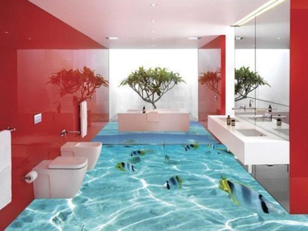 Используем стильный наливной пол в ванной