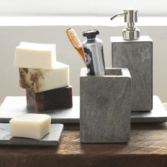 Каменные аксессуары ванной комнаты будут хорошо смотреться