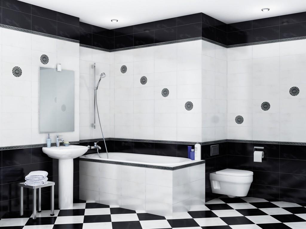 Контрастные вставки на плитке в ванной