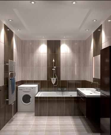 Красивое потолочное освещение в ванной