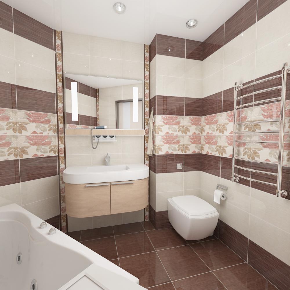 Красивый дизайн плитки в ванной комнате маленького размера