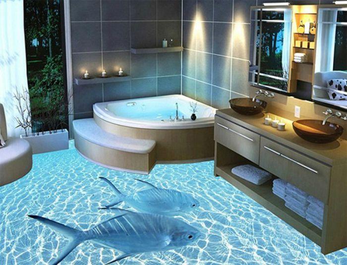 Креативный 3D пол в ванной