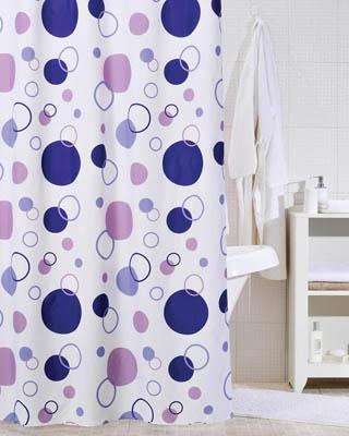 Круглые орнаменты на занавесках в ванную комнату