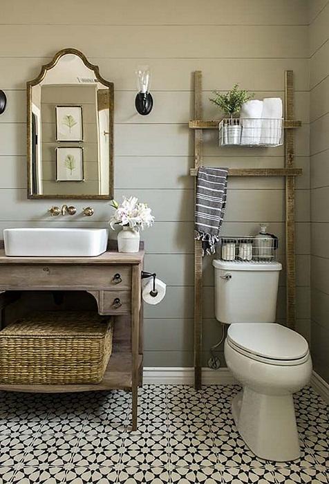 Лёгкая атмосфера с помощью декора в ванной комнате