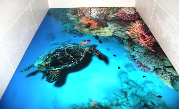 Наливной 3д пол в ванной с изображением черепахой