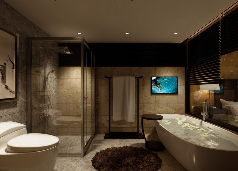 Неяркое освещение в ванной комнате