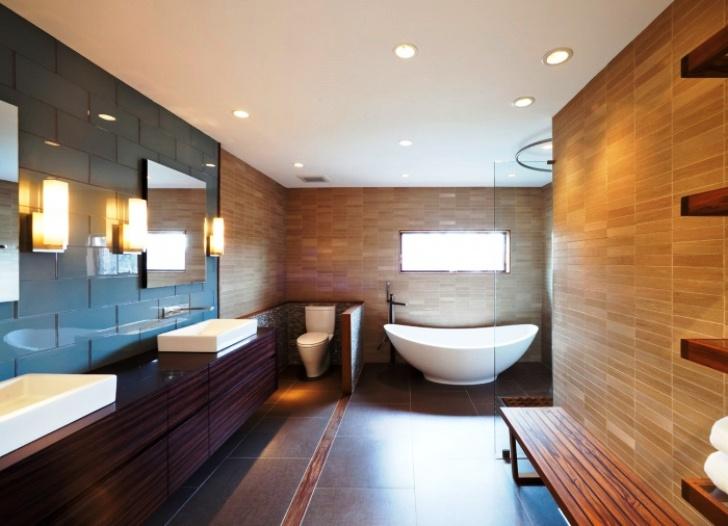 Освещение в ванной комнате большого размера