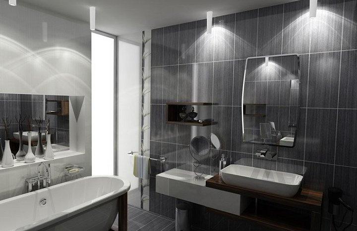 Освещение ванной комнаты с серой отделкой 2018