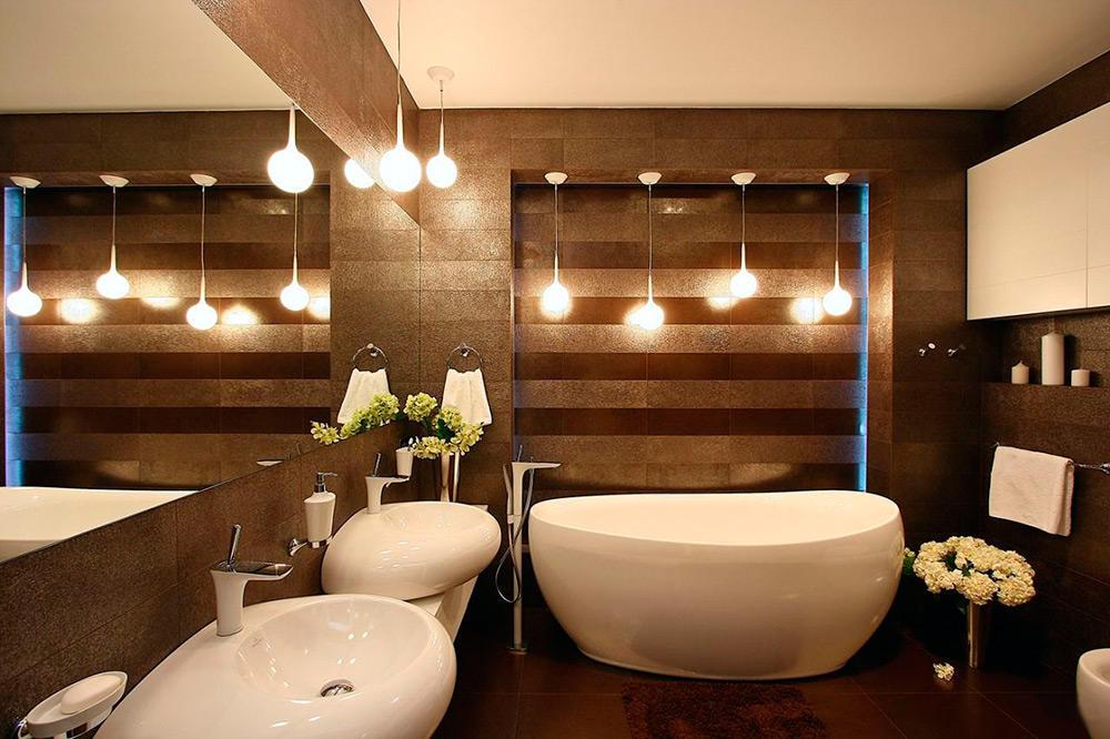 Освещение ванной коричневого цвета