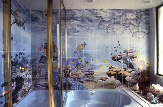 Пластиковые панели с рисунком рыбок