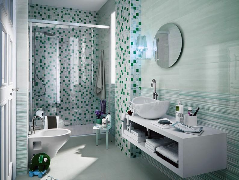 Плитка в ванную комнату зеленого цвета