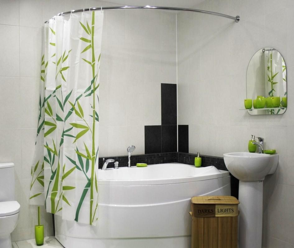 Полупрозрачная шторка для ванной комнаты